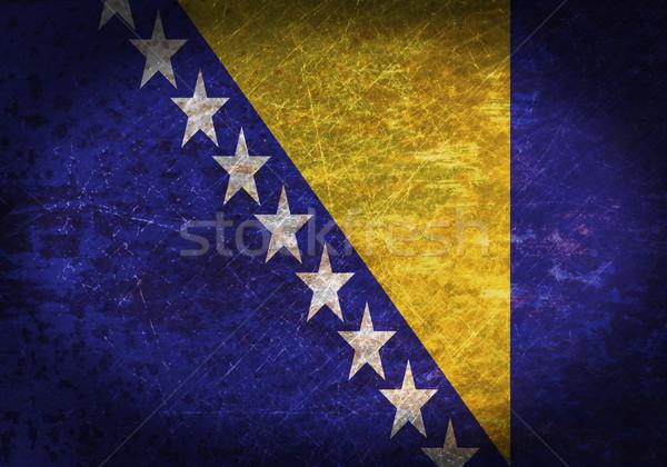 Oude roestige metaal teken vlag Bosnië-Herzegovina Stockfoto © michaklootwijk