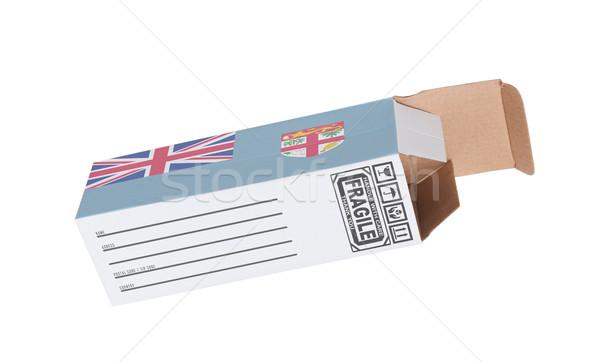Export termék Fidzsi-szigetek kinyitott papír doboz Stock fotó © michaklootwijk