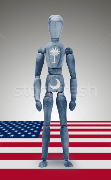 Wood figure mannequin with US state flag bodypaint - South Carol Stock photo © michaklootwijk