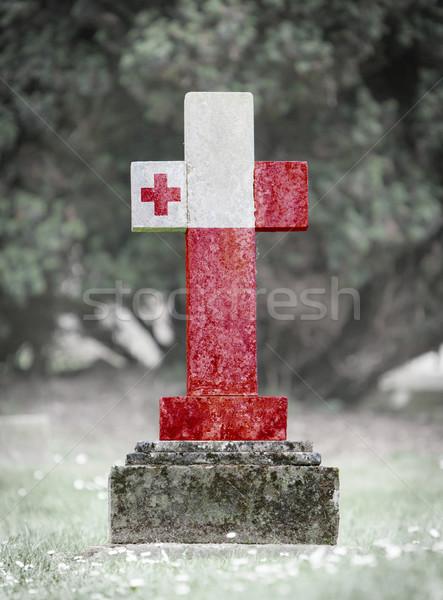 Nagrobek cmentarz Tonga starych wyblakły banderą Zdjęcia stock © michaklootwijk