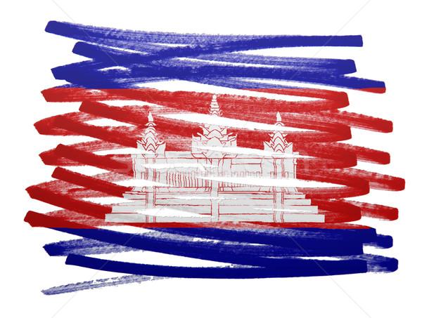 Bandeira ilustração Camboja caneta pintar silhueta Foto stock © michaklootwijk
