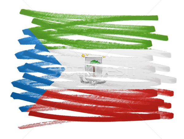 Bandeira ilustração Guiné Equatorial caneta negócio pintar Foto stock © michaklootwijk
