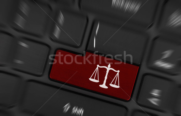 Law symbol (red key) Stock photo © michaklootwijk