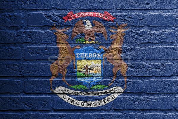 Tuğla duvar boyama bayrak Michigan yalıtılmış boya Stok fotoğraf © michaklootwijk