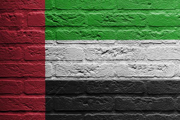 Parede de tijolos pintura bandeira Emirados Árabes Unidos isolado pintar Foto stock © michaklootwijk