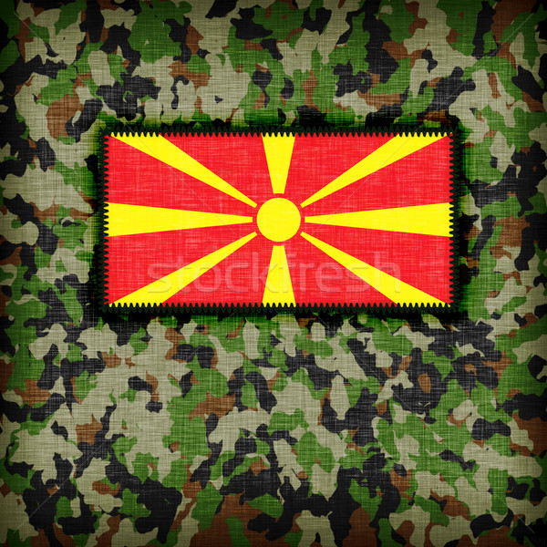 Camouflage uniform Macedonië vlag textuur abstract Stockfoto © michaklootwijk