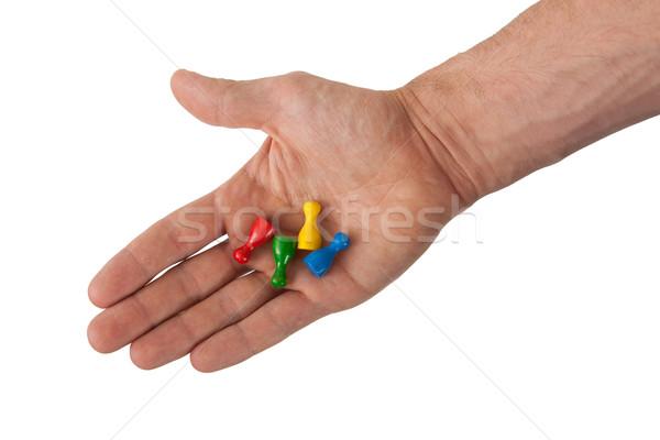 Kéz tart négy izolált fehér megbeszélés Stock fotó © michaklootwijk