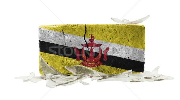 Foto stock: Ladrillo · vidrios · rotos · violencia · bandera · Brunei · pared
