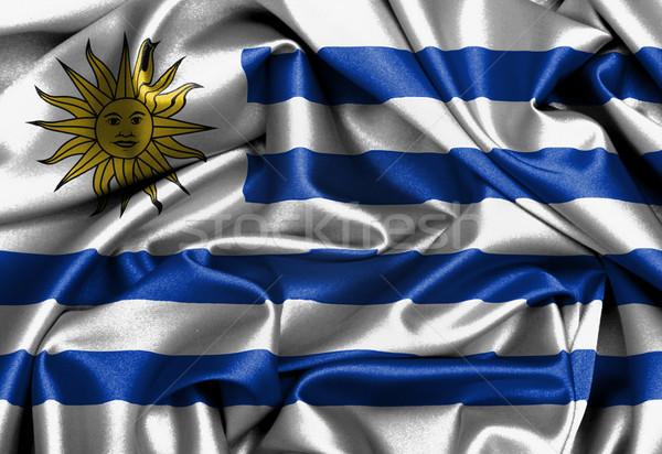 Satin Flagge dreidimensionale Uruguay Textur Stock foto © michaklootwijk