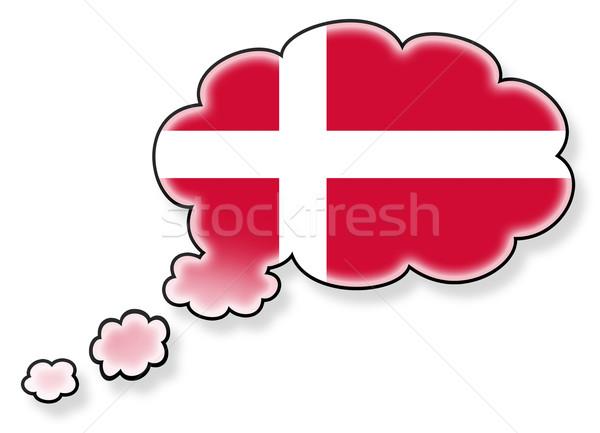 Vlag wolk geïsoleerd witte Denemarken kunst Stockfoto © michaklootwijk