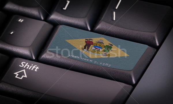 Vlag toetsenbord knop Delaware ontwerp laptop Stockfoto © michaklootwijk