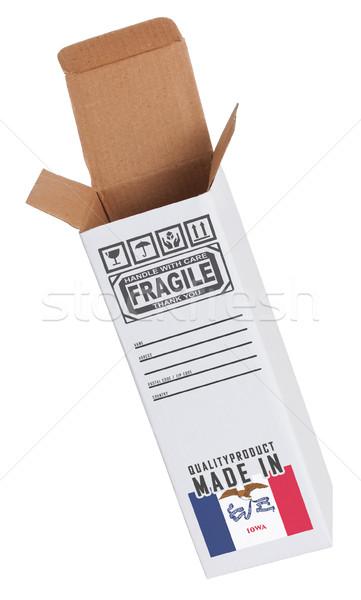 Export termék Iowa kinyitott papír doboz Stock fotó © michaklootwijk