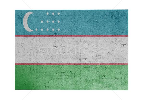 Nagy kirakós játék 1000 darabok Üzbegisztán zászló Stock fotó © michaklootwijk