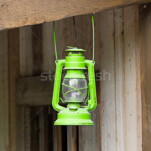 öreg zöld lámpás fából készült fa háttér Stock fotó © michaklootwijk
