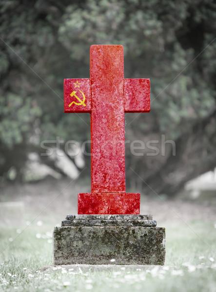 öreg sírkő temető Szovjetúnió fű háttér Stock fotó © michaklootwijk