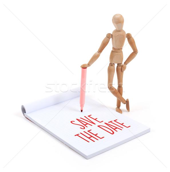 Bois mannequin écrit mettre date scrapbook Photo stock © michaklootwijk