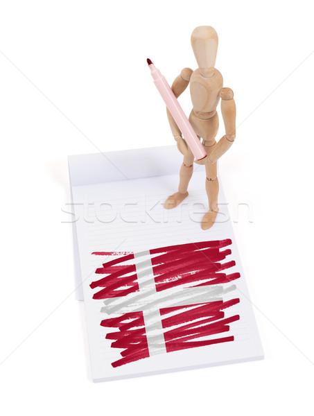 Houten etalagepop tekening Denemarken vlag papier Stockfoto © michaklootwijk