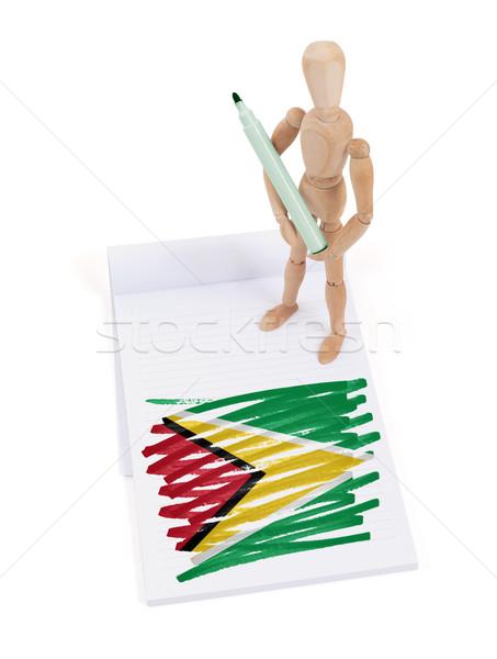 Bois mannequin dessin Guyane pavillon papier Photo stock © michaklootwijk