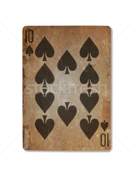 Very old playing card, ten of spades Stock photo © michaklootwijk