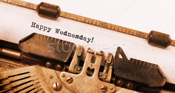 Vintage typewriter close-up - Happy Wednesday Stock photo © michaklootwijk