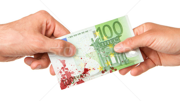 Man giving 100 euro to a woman, bloody Stock photo © michaklootwijk