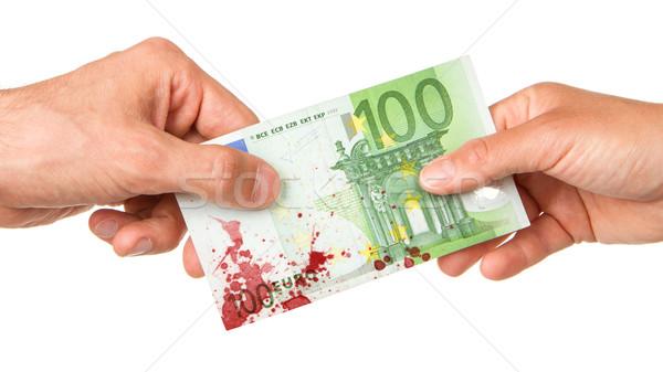 Stock fotó: Férfi · 100 · Euro · nő · véres · izolált