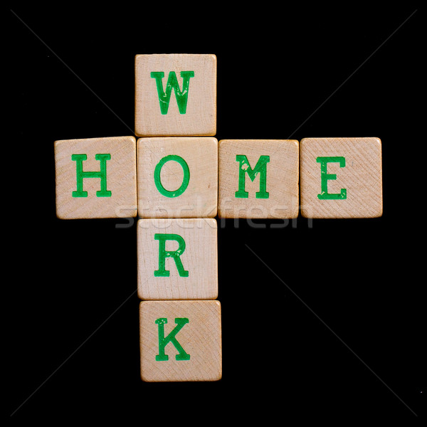 Letters on wooden blocks (home, work) Stock photo © michaklootwijk