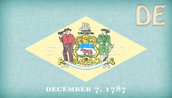 Bayrak Delaware kısaltma imzalamak kumaş Stok fotoğraf © michaklootwijk