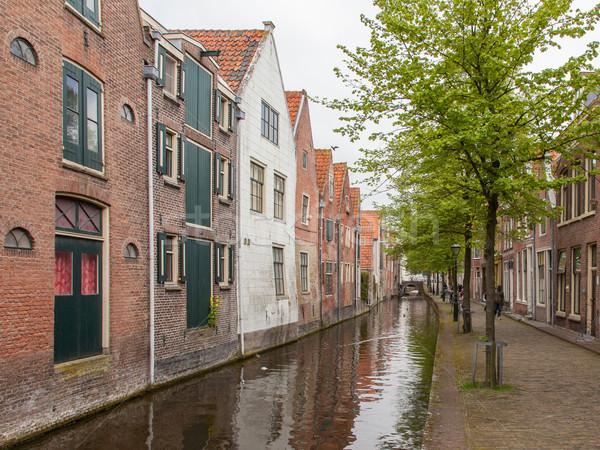 Geleneksel hollanda binalar kanal su ağaç Stok fotoğraf © michaklootwijk