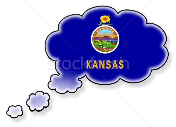 Bandeira nuvem isolado branco Kansas arte Foto stock © michaklootwijk