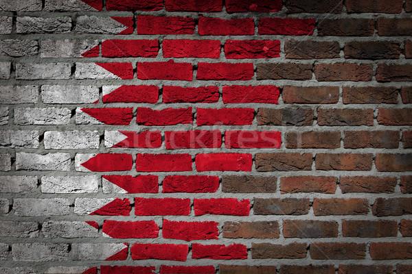 Karanlık tuğla duvar Bahreyn doku bayrak boyalı Stok fotoğraf © michaklootwijk