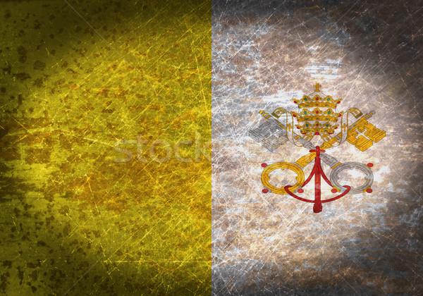 Oude roestige metaal teken vlag Vaticaanstad Stockfoto © michaklootwijk