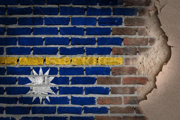 Sombre mur de briques plâtre Nauru texture pavillon Photo stock © michaklootwijk