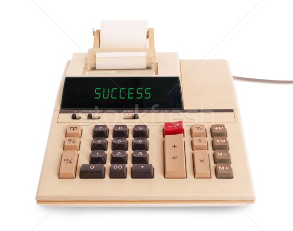 Oude calculator succes tonen tekst display Stockfoto © michaklootwijk