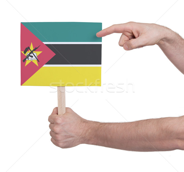 Hand holding small card - Flag of Mozambique Stock photo © michaklootwijk