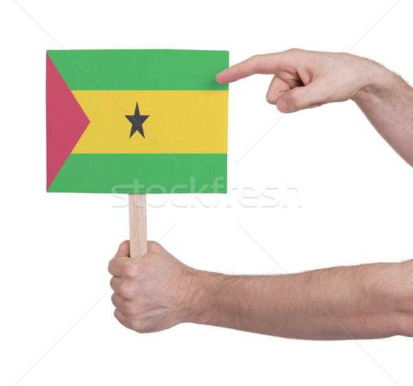 Hand holding small card - Flag of Sao Tome and Principe Stock photo © michaklootwijk