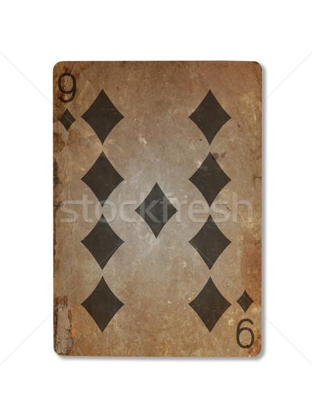Very old playing card, nine of diamonds Stock photo © michaklootwijk