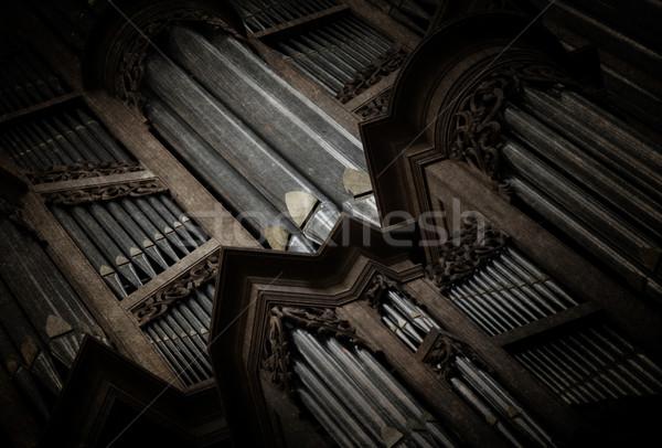 Arrepiante imagem velho tubo órgão igreja Foto stock © michaklootwijk