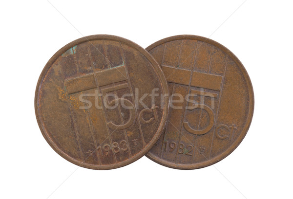 Stock photo: Old 5 euro cent coins, isolated