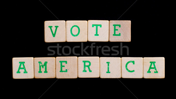 Letters on wooden blocks (America, vote) Stock photo © michaklootwijk