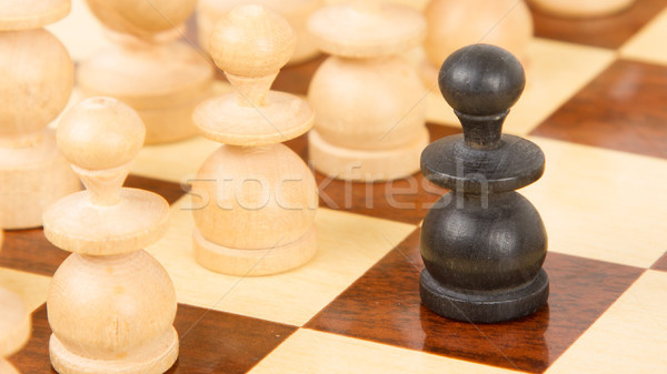 Siyah ahşap satranç tahtası eski savaş Stok fotoğraf © michaklootwijk