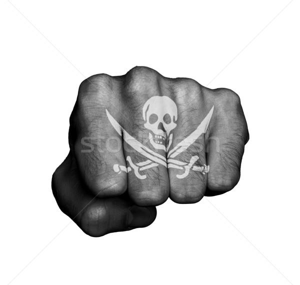 Hand piraat oog vlag Stockfoto © michaklootwijk