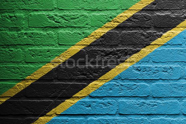 Mur de briques peinture pavillon Tanzanie isolé texture Photo stock © michaklootwijk