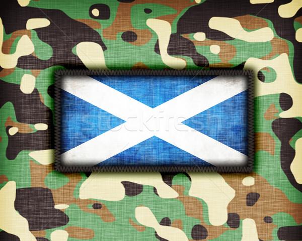Kamuflaż uniform Szkocji banderą tekstury streszczenie Zdjęcia stock © michaklootwijk