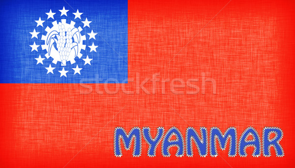 Flag of Myanmar stitched with letters Stock photo © michaklootwijk