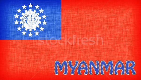 Vlag Myanmar brieven geïsoleerd textuur achtergrond Stockfoto © michaklootwijk