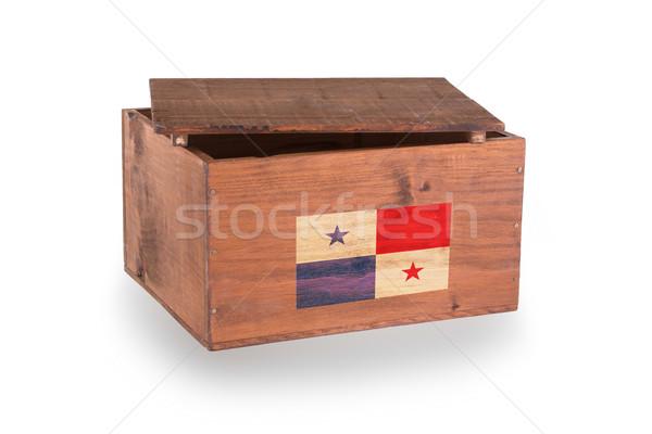 Stock fotó: Fából · készült · láda · izolált · fehér · termék · Panama