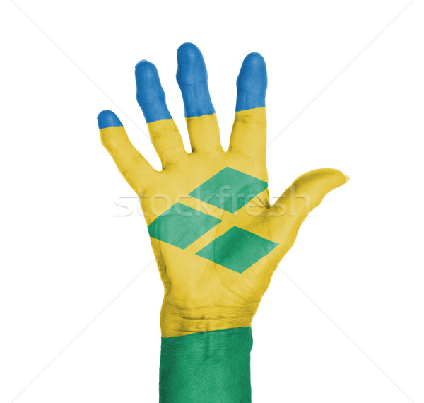 Palm of a woman hand, painted with flag Stock photo © michaklootwijk