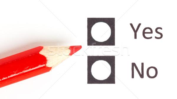 Kırmızı kalem evet Stok fotoğraf © michaklootwijk