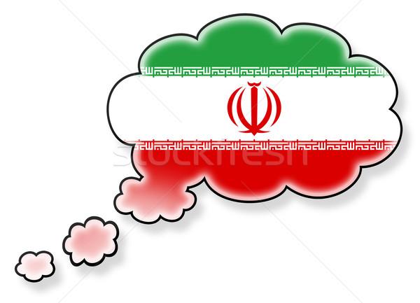 Stock fotó: Zászló · felhő · izolált · fehér · Irán · művészet